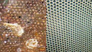 Trockeneisstrahlen Metallgitter vorher nachher