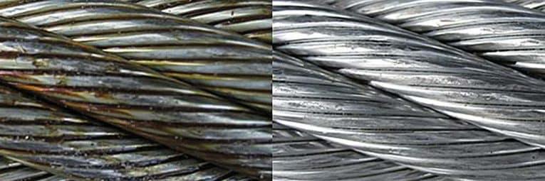 Trockeneisstrahlen Stahlseil vorher nachher