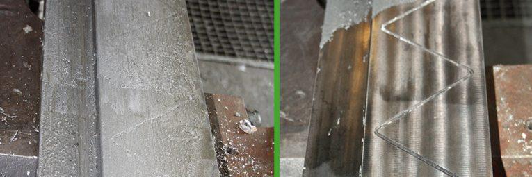 Anwendungsbeispiel Trockeneisstrahlen Aluminium vorher nachher