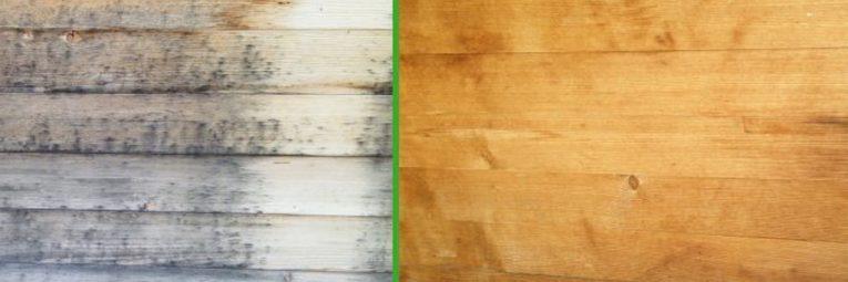 Anwendungsbeispiel Trockeneisstrahlen Holzhaus-Fassade vorher nachher