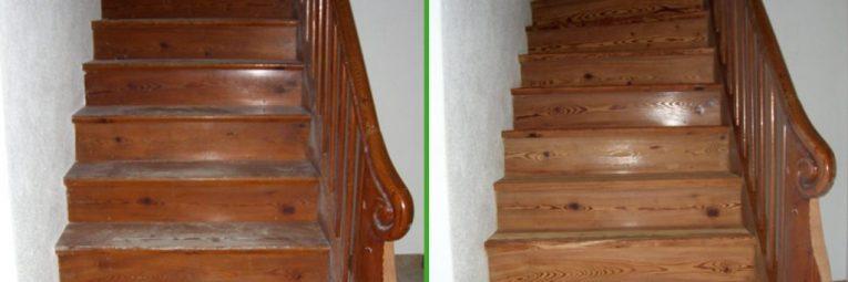 Anwendungsbeispiel Trockeneisstrahlen Holztreppe vorher nachher