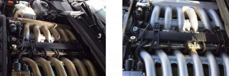 Anwendungsbeispiel Trockeneisstrahlen Motor vorher nachher