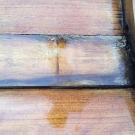 Probestrahlung mit Trockeneis am Holzboot