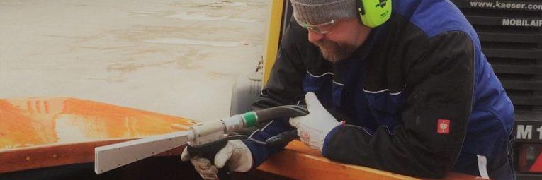 Probestrahlung Trockeneis Holzboot