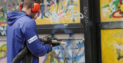 Trockeneisstrahlen Graffiti