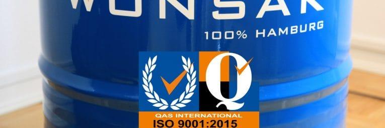 ISO 9001 Zertifizierung für Wonsak 100% Hamburg