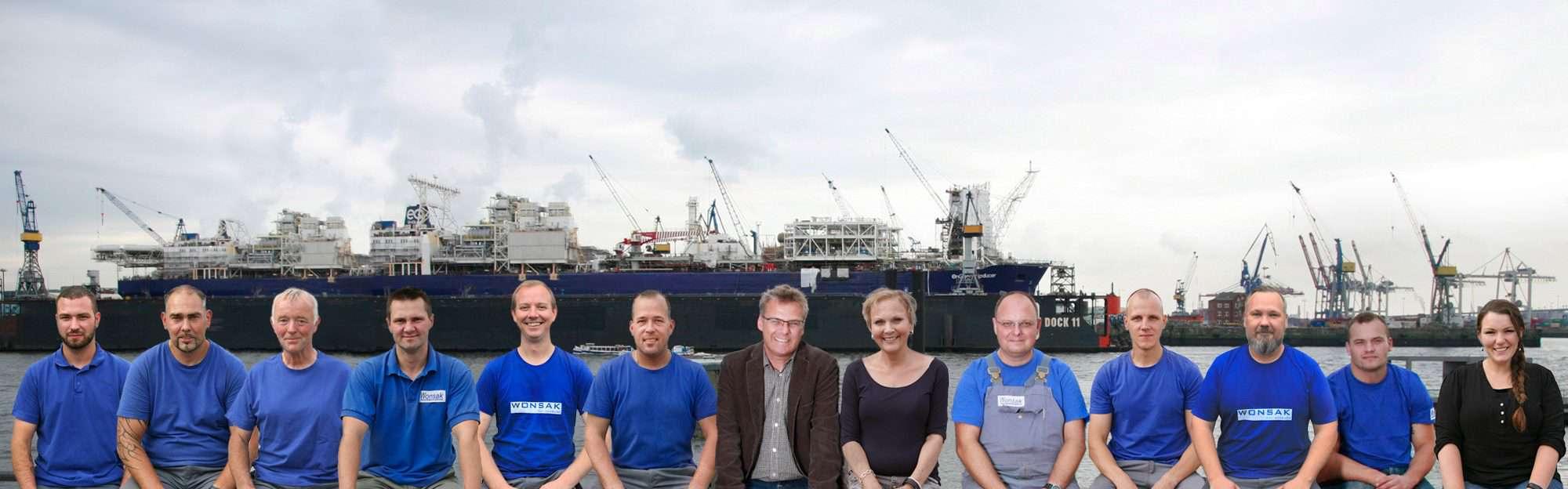 Das Wonsak Team 2020 am Hafen 100% Hamburg