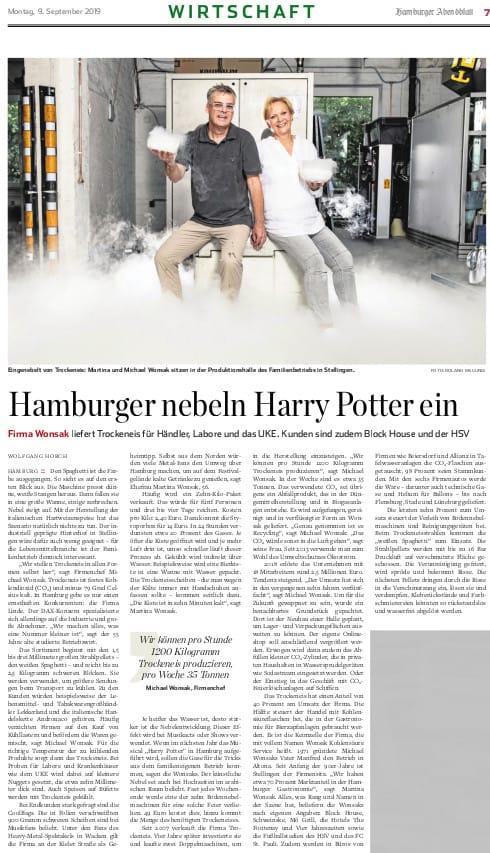 Presseclip Hamburger Abendblatt 9.9.2019 Wonsak - Hamburger nebeln Harry Potter ein