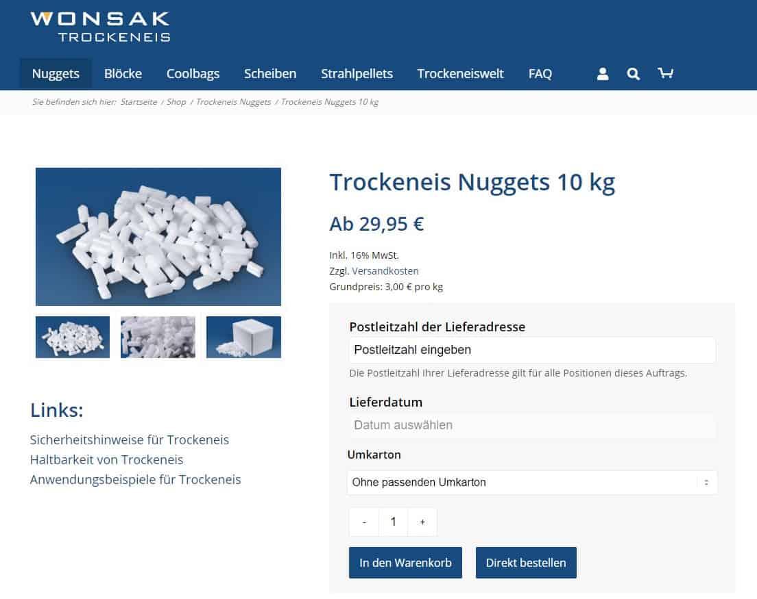 Premium Trockeneis online kaufen