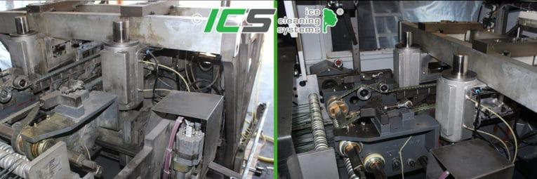 Trockeneisreinigung mit IC 310S e iner Industriemaschine vorher nachher